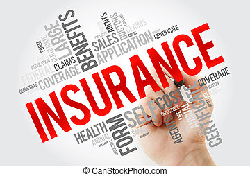 Insurance word cloud collage with marker