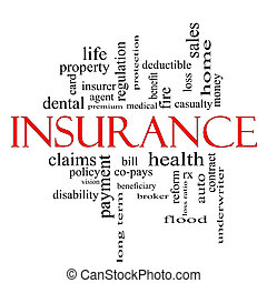 Insurance Word Cloud Concept in red and black with great...