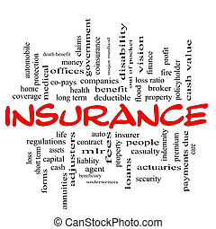 Insurance word cloud concept in red & black letters with...