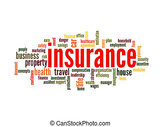 Insurance Word Cloud Concept in terms such as auto, house, travel and more