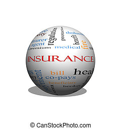 Insurance Word Cloud Concept on a Sphere with great terms...