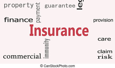 Insurance word cloud concept on white background. Footage