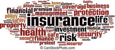 Insurance word cloud concept. Vector illustration