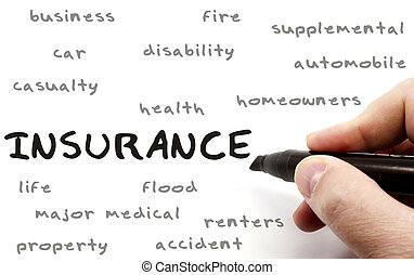 Insurance being written with a black marker on a dry erase board by a hand with other terms such as business, fire, car, health, homeowners, disability and more.
