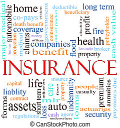 An illustration around the word insurance with lots of different terms such as home, auto, health, life, assets, property, copays, benefits and a lot more.