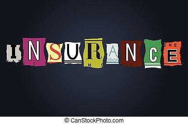 Insurance word on broken car license plates, vector