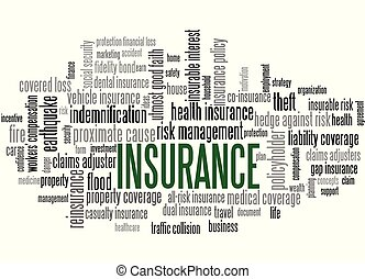 Insurance Word Tag Cloud, shows words related to risk management businnes, protection financial loss and similar concepts, vector ESP10