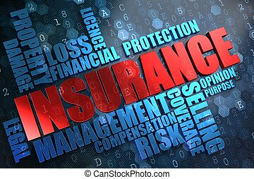 insurance., wordcloud, concept.