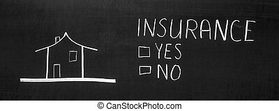 Insurance written on the blackboard with chalk