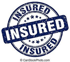 insured blue grunge stamp