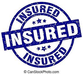 insured blue round grunge stamp