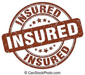 insured brown grunge stamp