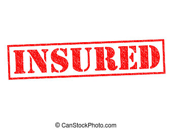 INSURED red Rubber Stamp over a white background.