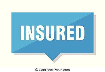 insured price tag - insured blue square price tag
