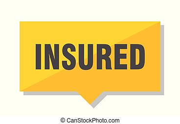 insured price tag - insured yellow square price tag
