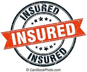 insured round grunge ribbon stamp