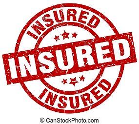 insured round red grunge stamp