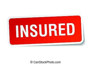 insured square sticker on white