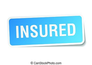 insured square sticker on white