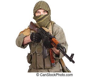 insurgent wearing keffiyeh with AK 47 gun isolated on white