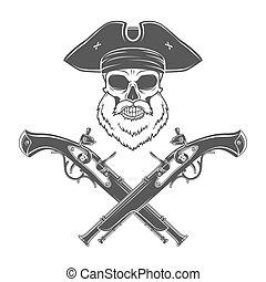 Insygnia, kapitan, śmierć, podniesiony, czaszka, Broda, Wesoły,  t-shirt, Wiktoriański, Pojęcie,  Roger, Wektor,  logo, pistolet, kapelusz, Szablon, projektować