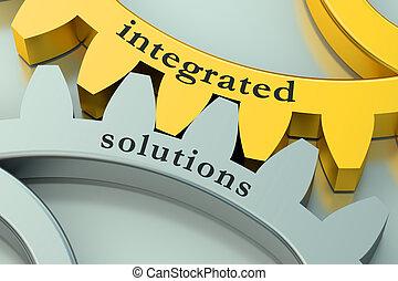 intégré, concept, solution, gearwheels