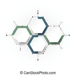 intégré, hexagone, papier, fond, étiquette, molécule, ...