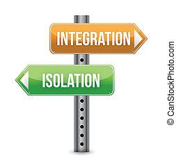 intégration, concept, à, panneaux signalisations