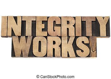 intégrité, bois, type, travaux