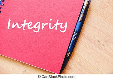 intégrité, cahier, écrire