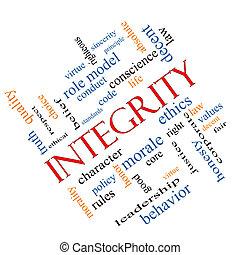 intégrité, concept, mot, nuage, incliné