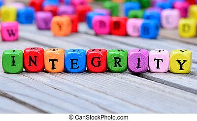 intégrité, mot, table