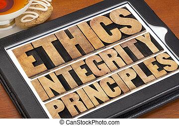 intégrité, principes, éthique
