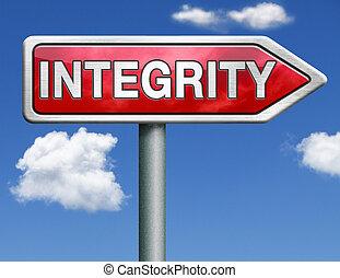 intégrité, route, signe flèche