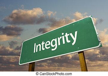 intégrité, vert, panneaux signalisations