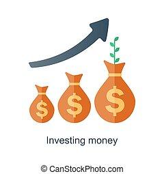 intérêt, concept., revenu, argent., fonds, vecteur, temps, ...
