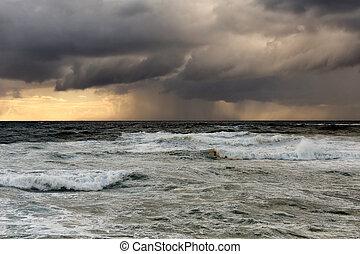 intéressant, mer, pleuvoir orage, lumière