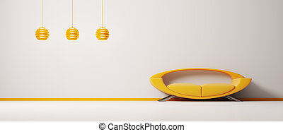 intérieur, à, orange, sofa, 3d