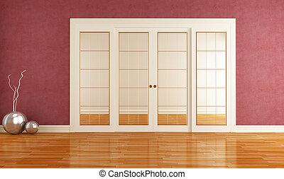 intérieur, à, porte coulissante
