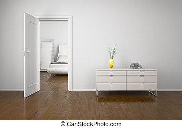 intérieur, à, porte ouverte