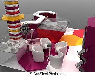 intérieur, échantillon, exposition, stand