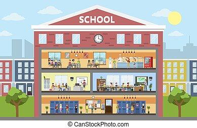 intérieur, école, bâtiment