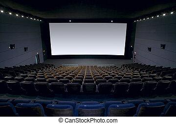 intérieur, écran, sièges, cinéma