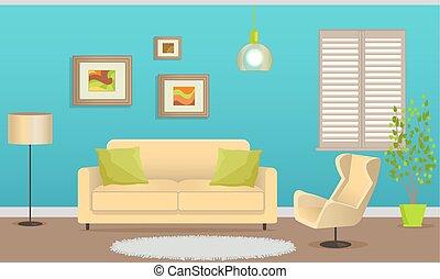 intérieur, élégant, meubles, conception, confortable