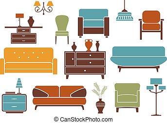 intérieur, éléments, conception, meubles