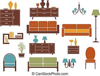 intérieur, éléments, meubles, maison, conception, plat