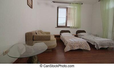 intérieur, été, chambre hôtel, recours