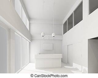 intérieur,  3D,  réception,  render