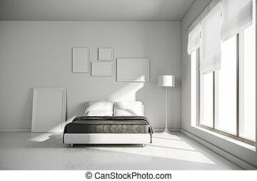 intérieur, 3d, render, chambre à coucher