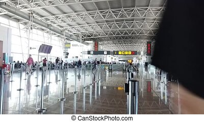 intérieur, aéroport, moderne